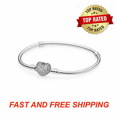Authentic Pandora Bracelet PAVE HEART Sterling Silver Snake Chain #590727CZ