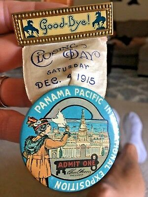 RARE 1915 PPIE PANAMA-PACIFIC EXPOSITION AMERICAN DAY BUTTON BADGE pin