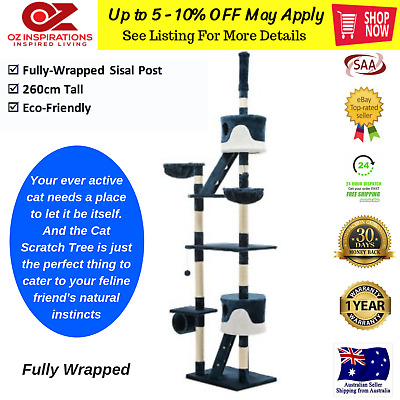 iPet Cat Large Scratching Pole Post Tree Scratcher Toy Gym Condo House 260cm