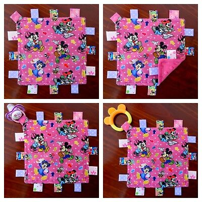 Minnie Mouse Mini Size TaGgie Taggy Tag Blanket Toy comforter Dummy clip Holder