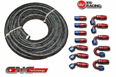 -10AN AN10 Swivel Fittings & Stainless Steel Braided Fuel Line Hose (30FT)