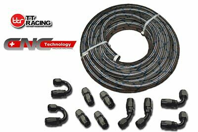 AN10 20FT Blue Tracer Stainless Steel Braided Fuel Line+Black Fitting Hose Kit