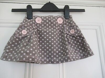 12-18m: Cute cord skirt: Brown spotty + big buttons: NEXT: Good condition