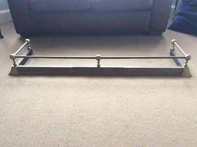 Vintage Brass Fire Fender Curb Hearth Surround Extendable