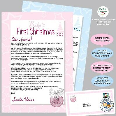 Baby's first LETTER FROM SANTA personalised first xmas boy girl 1st sticker baby
