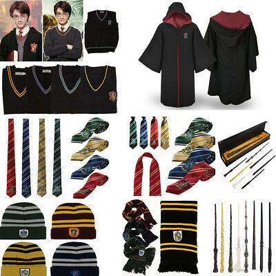 Harry Potter Gryffindor Slytherin Robe Tie Hat Scarf LED Wand Cosplay Costume AU