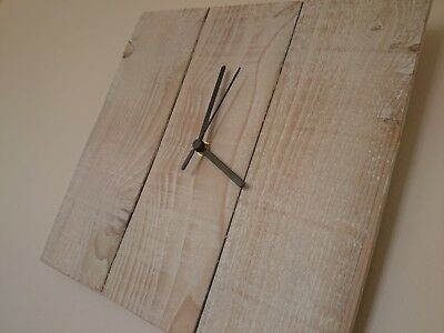 Rustic recycled square wooden wall clock with white wash finish and black hands