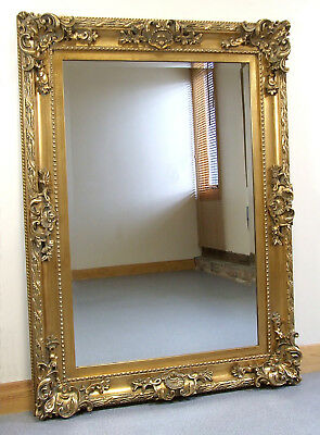 """Paris French Antique Style Ornate Rectangle Wall Mirror Gold 33"""" x 45"""""""