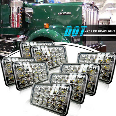 8X DOT Approved 4x6 inch LED Headlight BUlb for Peterbilt Kenworth Freightliner