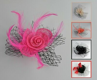 Sinamay, feathers & black net small fascinator hair clip/corsage. Cream/hot pink