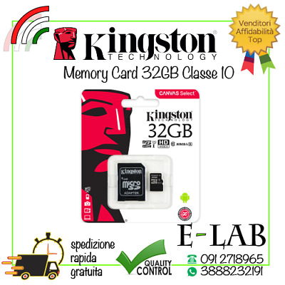 Micro Sd Kingston Originale 32 Gb Classe 10 80 Mb/s Scheda Memoria Memory Card