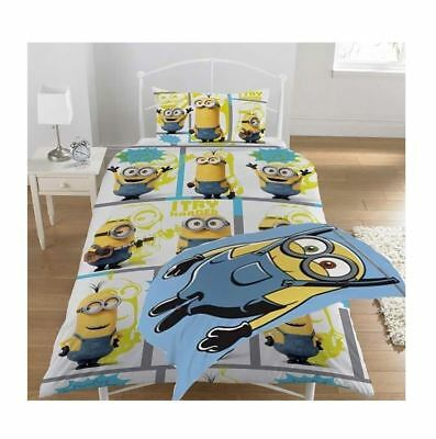 """Minions Rotary Single Bed Duvet Quilt Cover Set """"Let'S Try Harder"""" - Brand New"""