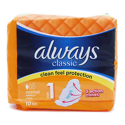 Always Classic Normal Pads, With Wings, 10 Pads, Size 1, Clean Feel Protection
