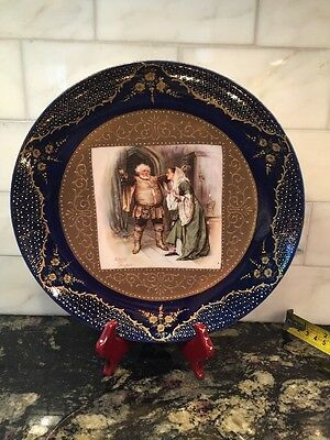 Austrian China Falstaff & Mrs. Ford, RARE DECORATION Hanging Bowl Plate