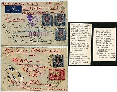 BURMA AIRMAIL WW2 CENSORED HONG KONG ROUTE CHANGED to PHILIPPINES HAWAII 1941