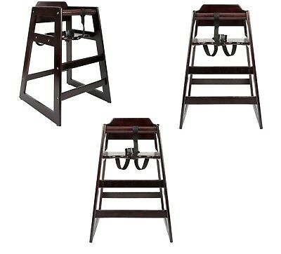 3 PACK Stacking Restaurant Commercial Wood High Chair Black Stackable Chairs NEW