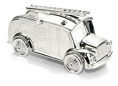 Personalised Silver Fire Engine Money Box For Births,Christening,Baptism Etc.