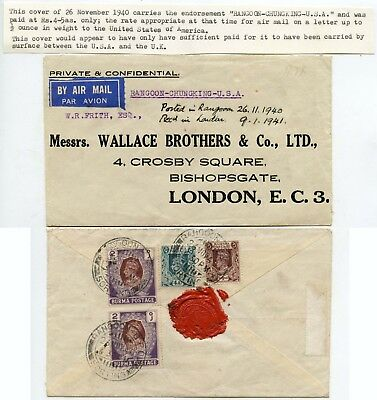 BURMA AIRMAIL via CHUNGKING ONLY + SURFACE to GB WW2 1940-41 + SEAL