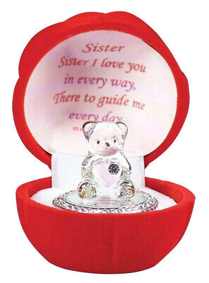 Special Sister Birthday Gifts Glass Teddy Bear In Red Flower Rose Ornaments Box