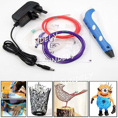 NEW  3D Printing Pen Stereoscopic Drawing Arts Crafts+ 3 Free ABS Filaments