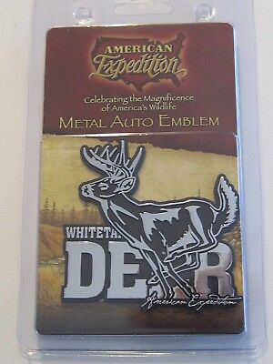 American Expedition Whitetail Deer Metal Auto Emblem 1 PC