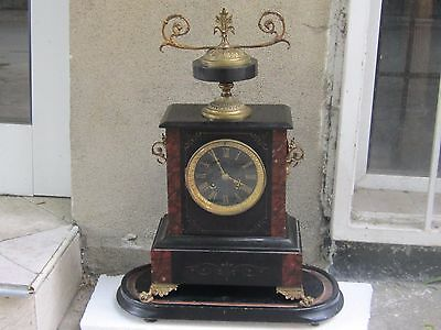 AMAZING ANTIQUE FRENCH BRONZE/BLACK MARBLE/INLAID MANTLE CLOCK 19th c- WORKS
