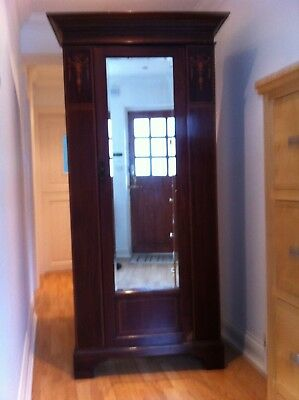 Antique dark wood inlaid wardrobe with mirror Collect IG10