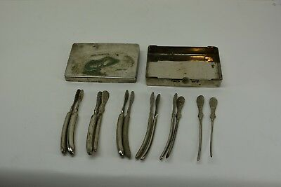 Antique Medical /Surgical 12 pc. Box set, Stainless Steel, various sizes