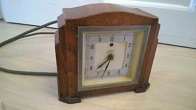 Vintage Oak Wood? TEMCO ART DECO STYLE ELECTRIC MANTEL CLOCK - WORKING