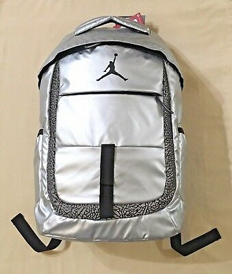 Nike Air Jordan Backpack Laptop Sleeve Jump Man Logo Metallic Silver  9A1685-250