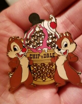 Chip and Dale with Ice Cream  Soda Fountain Raised Bling Disney Pin LE 300