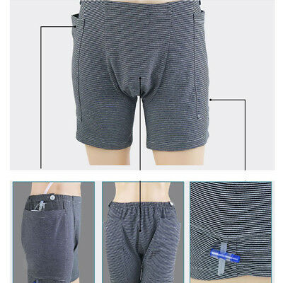 Male's Incontinence Underwear Pants with Sides Pocket to Put the Urine Bag