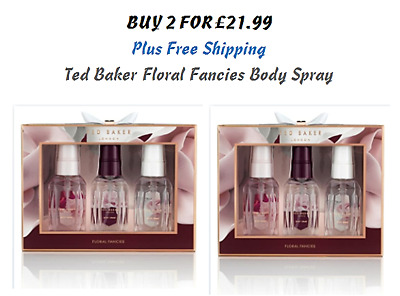 2 x Ted Baker Christmas Floral Fancies Body Spray Mist Trio Gift Set Gift