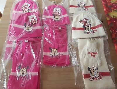 Stock VERO AFFARE 5 Set sciarpa cappello e guanti bambina MINNIE originali
