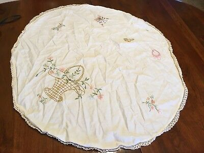 Vintage Hand Embroidered Small Round Tablecloth