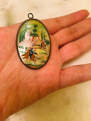 Antique Vintage Hand Painted Persian Mother Of Pearl Silver Pendant
