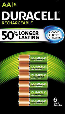 DURACELL Rechargeable AA  Batteries,  Pre-charged,  2500 mAh, 6 ct.