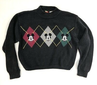 VTG Disney Mickey Mouse Sweater Boys Sz 6 Navy Blue Argyle Embroidered Pullover