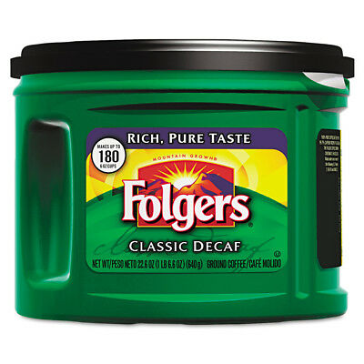 Folgers Ground Coffee Classic Roast Decaf Ground 22 3/5oz 6/ctn 00374CT NEW