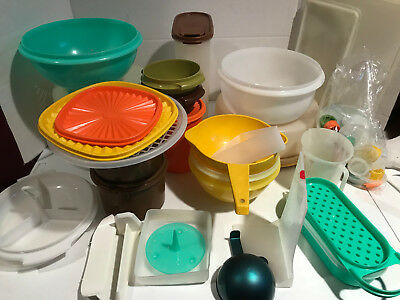 Huge Lot Of Vintage Assorted Tupperware Pieces, Colors Over 60 Pieces