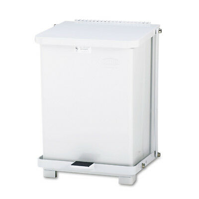 Rubbermaid Defenders Biohazard Step Can, Square, Steel, 7gal, White ST7EWHPL NEW