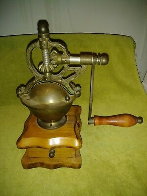 Antique German  Coffee Grinder Mill Manual Hand Crank Vintage Wood/ Brass