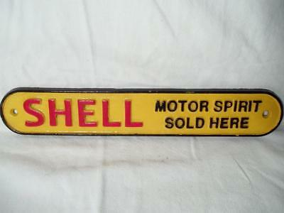 Cast Iron Shell Motor Spirit Sold Here Sign Plaque Gas Oil Collectible Sign