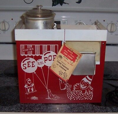 "Vintage Metal Empire Popcorn Popper Electric ""See 'em Pop"" w/ Instructions USA"