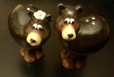 Black Bear Salt and Pepper Shakers with Holder Ceramic by Popular Creations