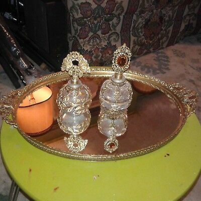 Stunning Antique/vintage Brass Gilt Mirrored Vanity Tray With Two Perfume Bottle