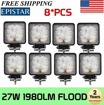 8Pcs 27W Led Work Light Flood Square Offroad JEEP Truck Driving Truck 5D Optical