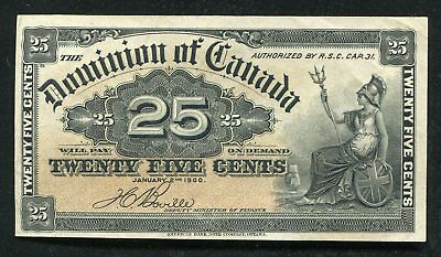 """1900 25 Twenty Five Cents Dominion Of Canada """"Shinplaster"""" About Uncirculated"""