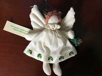 Christmas ornament country Irish angel doll shamrock basket handmade fabric NEW!