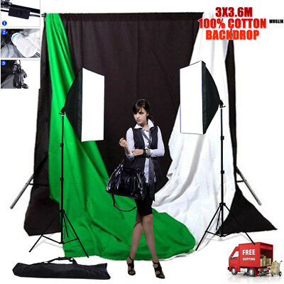 Photography 3X Cotton Muslin Backdrop Stand &1350W Photo Softbox Studio Lighting